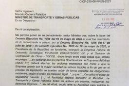 Oficio enviado al Ministro de Transporte y Obras Públicas