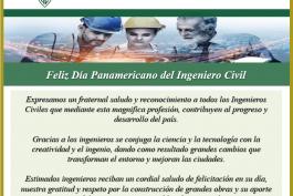 Saludo por el Día Panamericano del Ingeniero Civil
