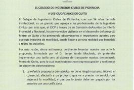 Comunicado a la ciudadanía de Quito