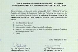 Convocatoria a la Asamblea General Ordinaria Correspondiente al Primer Semestre del Año 2021