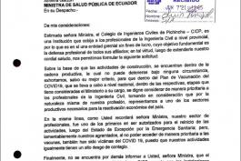 El Colegio de Ingenieros Civiles de Pichincha reitera su petición a la Señora Ministra de Salud, para la vacunación a los Ingenieros Civiles