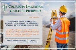 Topografía Digital y Manejo de Estación Total, Dibujo Topográfico y Cálculo de Volúmenes con Civil CAD