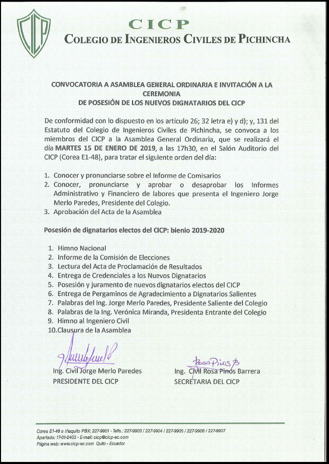 Convocatoria: Asamblea General Ordinaria e Invitación a la Ceremonia de Posesión