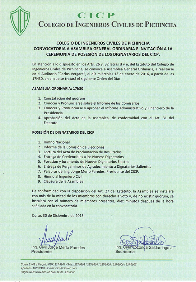 Convocatoria: Asamblea General Ordinaria y Ceremonia de Posesión 2016